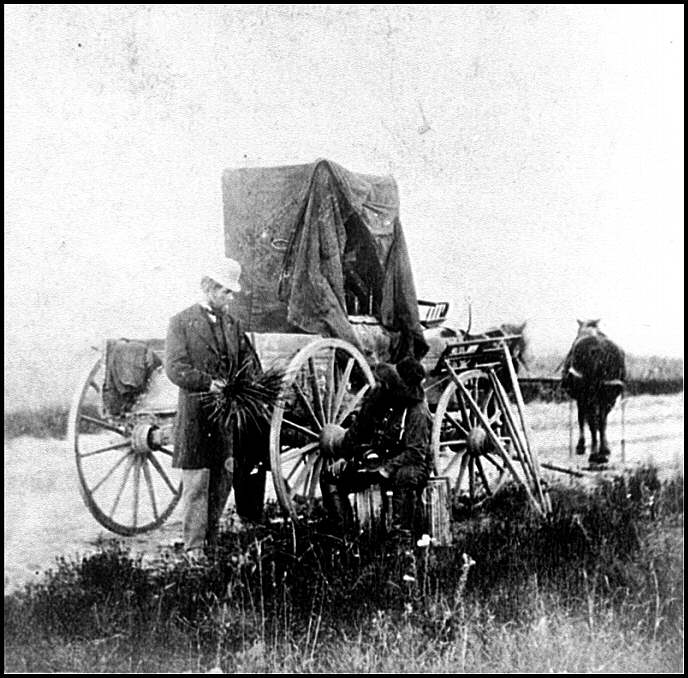 Union soldiers prepare for a move near Fort Riley, KS (click to see full size image)